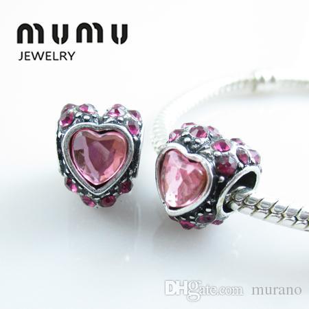 Gioielli fai-da-te in argento placcato perline d'amore in cristallo rosa Aolly grande cuore perline larghe e grandi perline adatto ai braccialetti europei