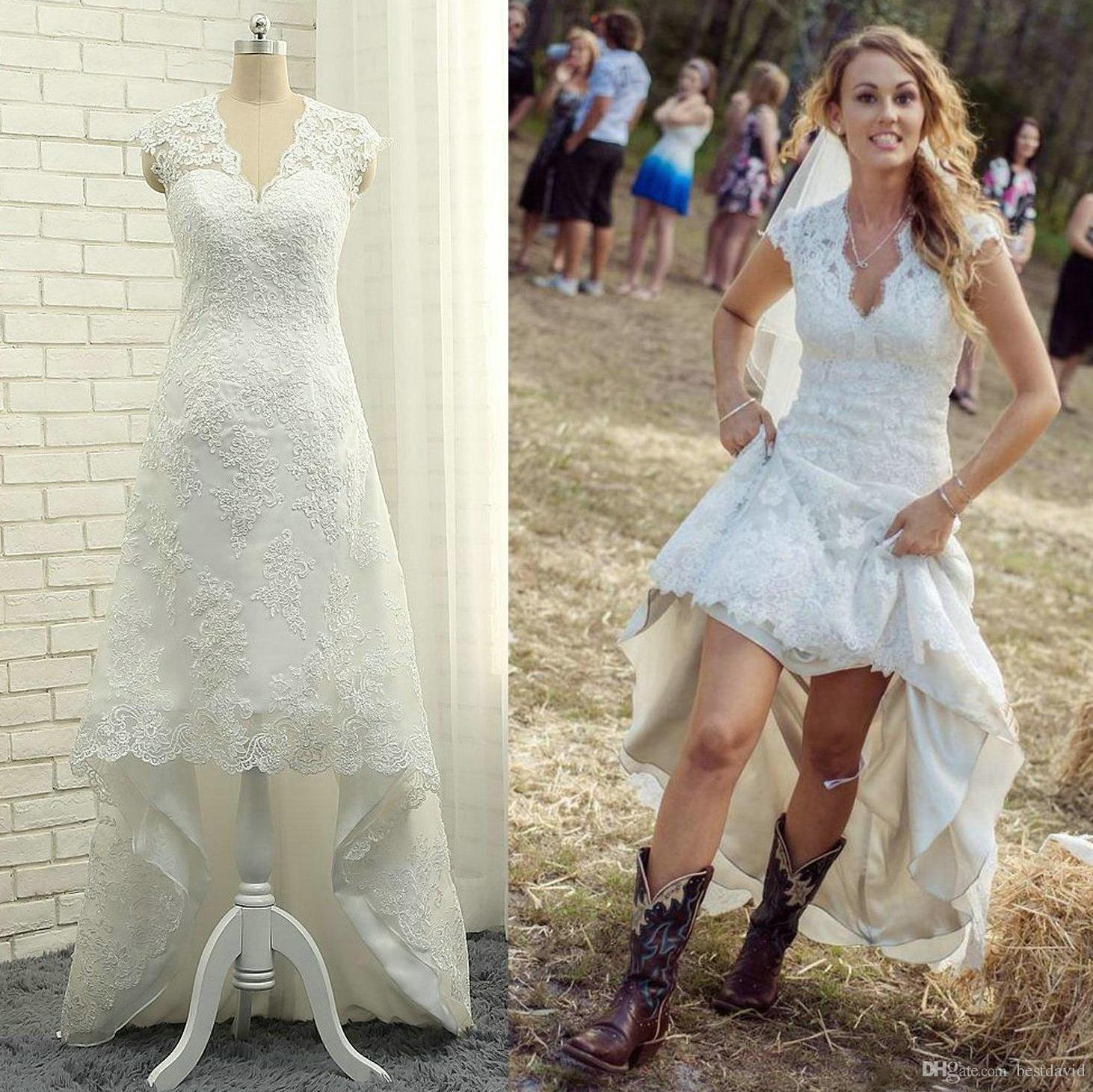 Discount Cheap High Low Country Lace Wedding Dresses 2017 V Neck Cap ...