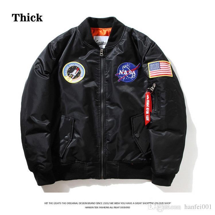 Thick Nasa Ma1 Bomber Jacket Flight Windbreaker Usa Air Force