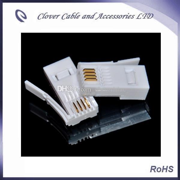 UK standard Golden Plated Flat 6P4CUK standard BT 6P4C telephone module plug