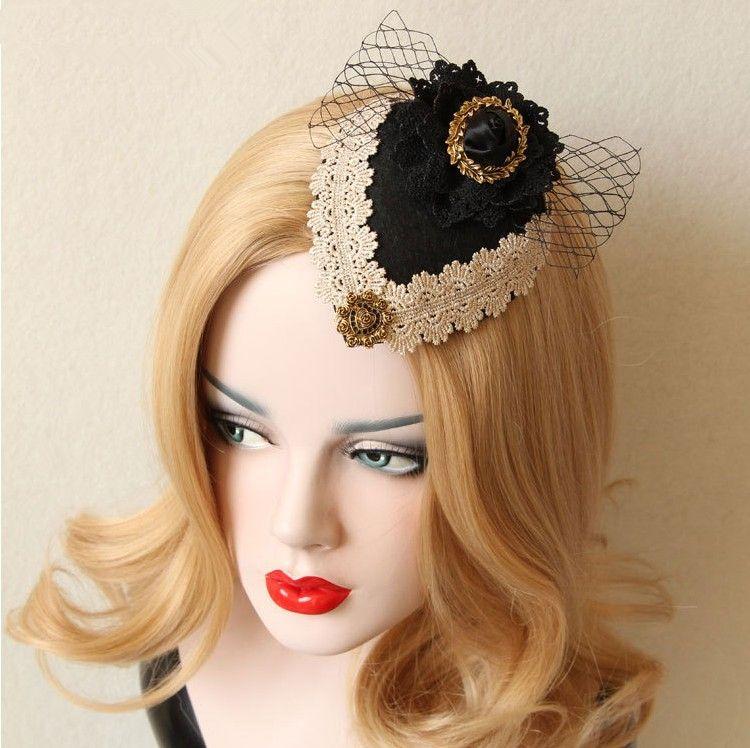 Ücretsiz kargo siyah altın dantel çiçek dantel vintage ortaçağ çiçek dantel saç dekorasyon sahne / bale / performans kostüm aksesuar
