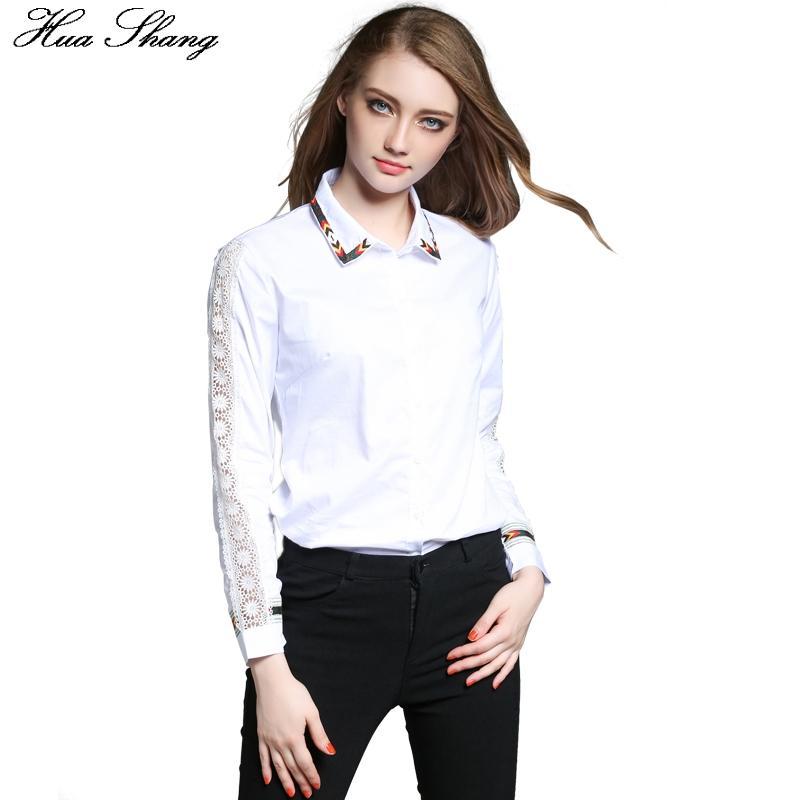 quality design 6f745 bad9e Camicia elegante ricamata a maniche lunghe in pizzo con maniche lunghe 2017  Camicia bianca da lavoro da donna
