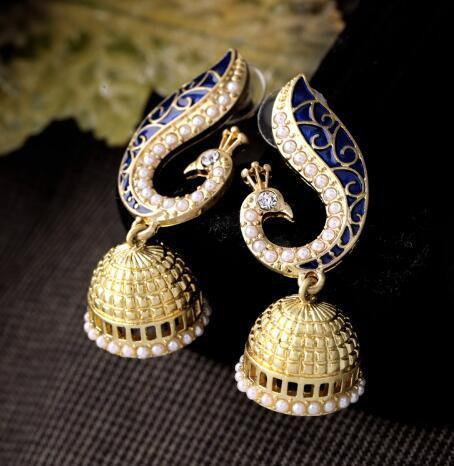 Orecchini a goccia lunga moda animali placcati oro 18 carati Orecchini a forma di pavone con cristalli colorati donne ER0086-C, ed01093