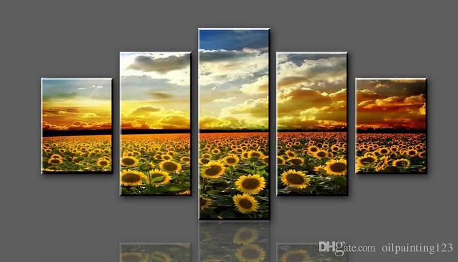 Frete grátis Amarelo Girassol Mar Grande HD Pintura Da Lona Impressão Arte Única Arte Da Parede Imagem Presente para Sala de estar F / 1129