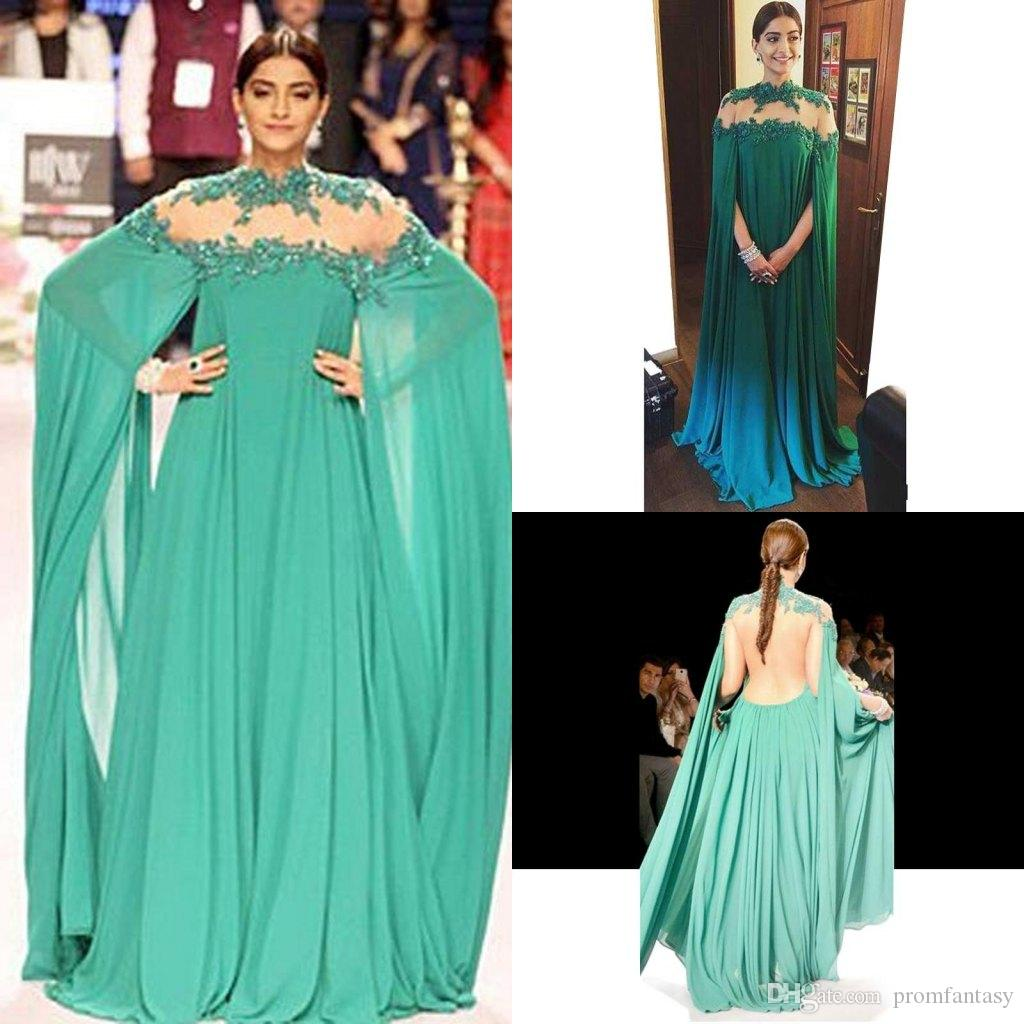 Green Arabic Evening Dresses Long Sheer Back High Neck With Cape ...