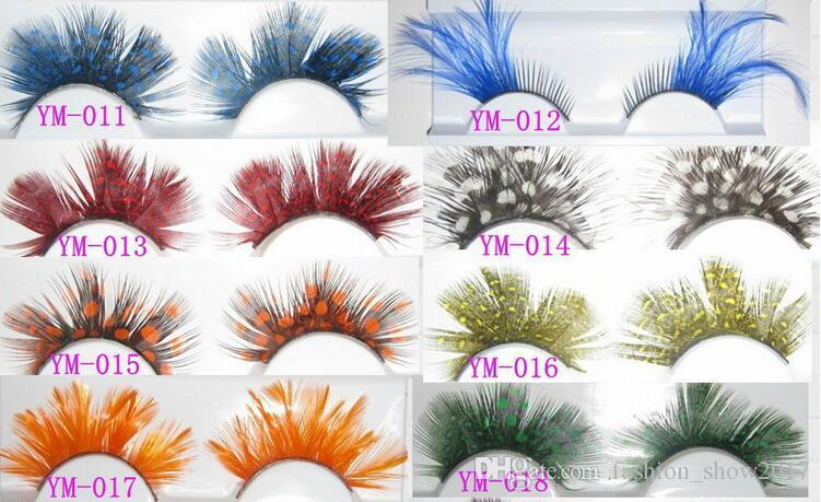 Fashion Colors Cosplay Feather False Eyelashes Party Costumes Fake Eye Lashes Makeup Tools Feather Eyelashes Extension