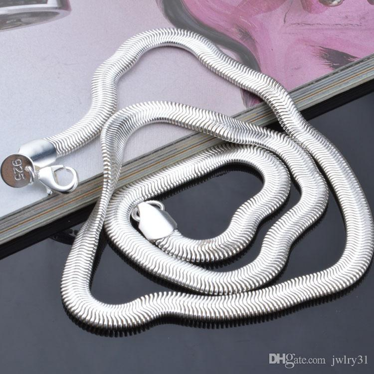 High Quality 6MM 925 Sterling Silver Snake Necklace Man Woman Jewelry Lobster Clasp Charms Chain Flat Necklaces 16inch~24inch Factory Price