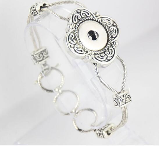 23cm hot Antique silver plated flower pattern bracelet DIY Snap buttuon bracelet snap chock chain bangle NOOSA chunks jewelry fit 18mm charm