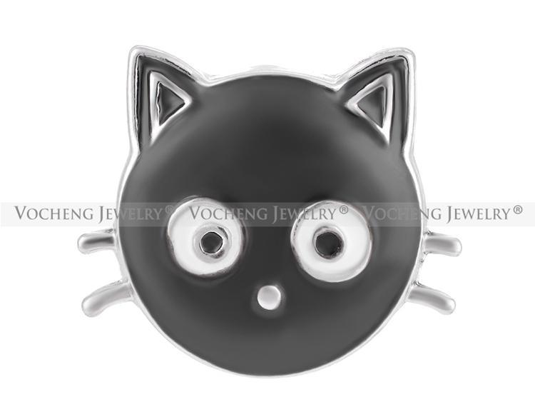 VOCHENG NOOSA 18mm Gato negro Ginger Snap Pintado a mano Joyas intercambiables Vn-1272