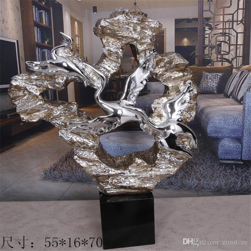 Silver Plating Sculpture Crafts Art Desktop Soft Furnishings Statue Decoration Sculpture Crafts with Resin Fiberglass for Villa Decoration