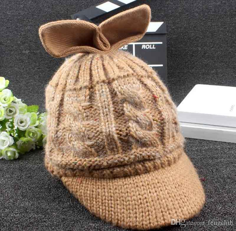 Popular Korean version of autumn and winter new hat women rabbit ears knitted wool sweater warm plus cashmere fashion cap wholesale
