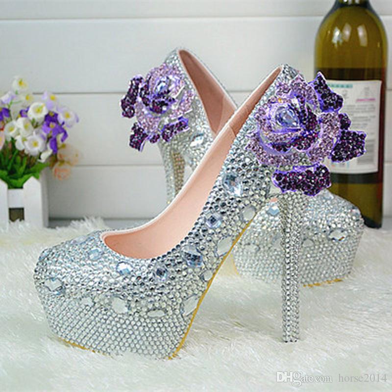 Strass cristal chaussures de mariage plateforme chaussures de demoiselle d'honneur en argent plus taille haute talon heel robe de mariée chaussures femmes Pompes de fête des femmes