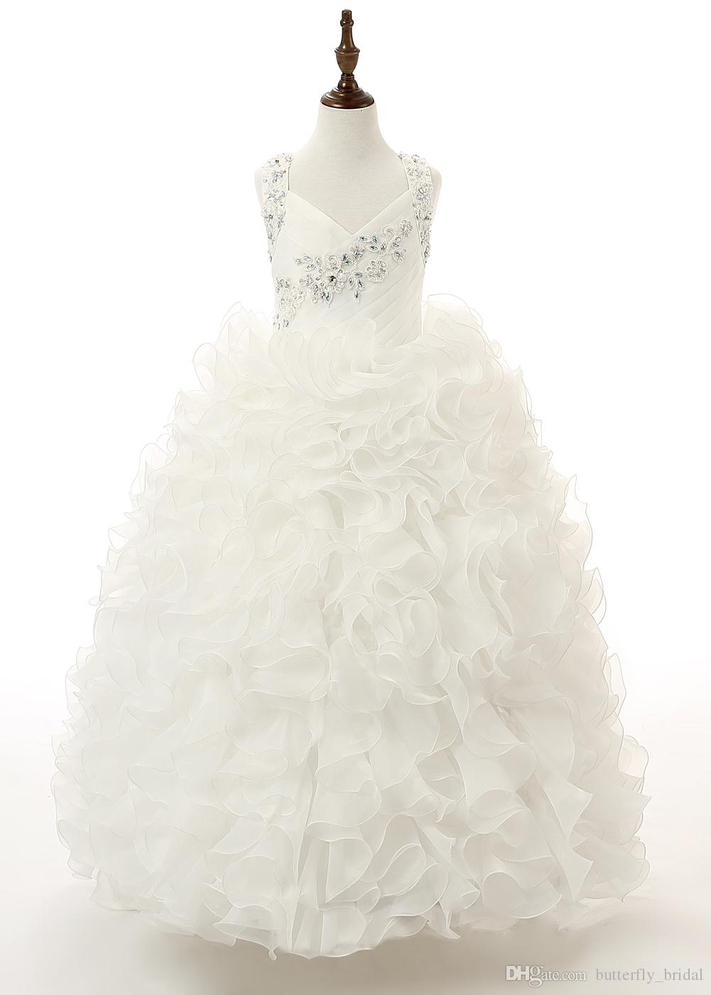 Hote Sale Spaghetti Applique Sequins Crystal Beaded Organza Tiered