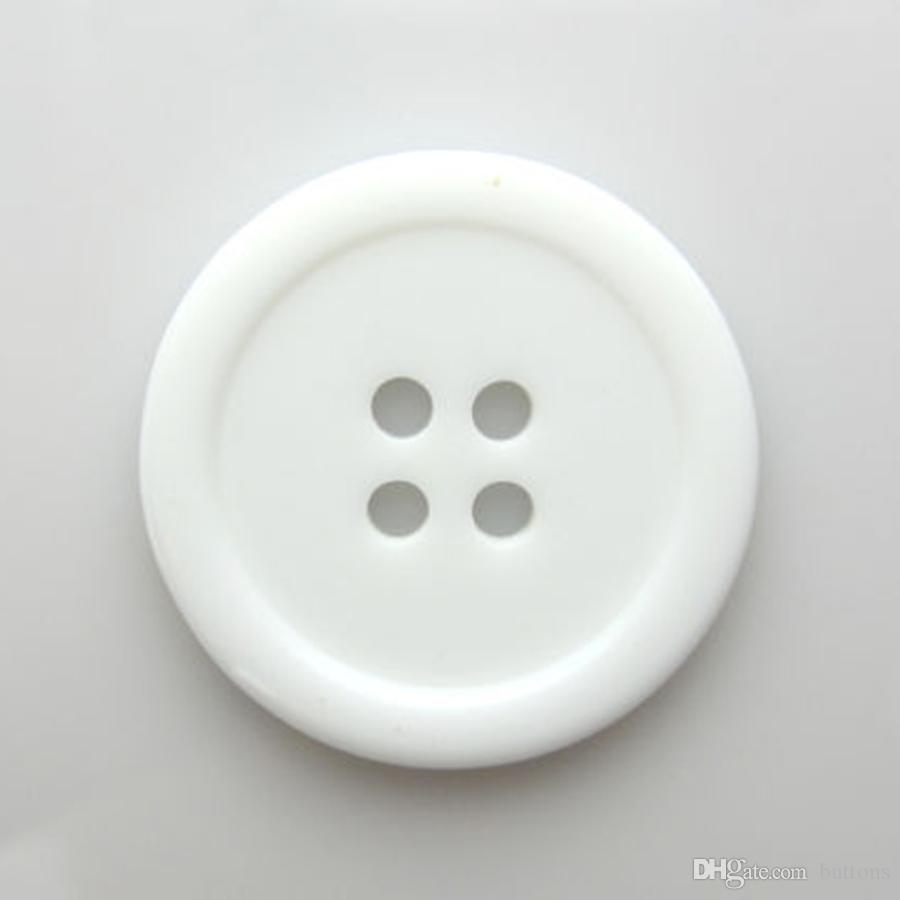 Wholesale Details about White Round 4-Holes Resin Sewing Buttons 25mm