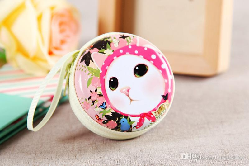 Mignon Cartoon Mini Portefeuille sac Femmes Porte-Monnaie Cat charmant Animaux fer-blanc en alliage de métal Zipper Coin sac Chrismas Cadeau Pour Les Filles