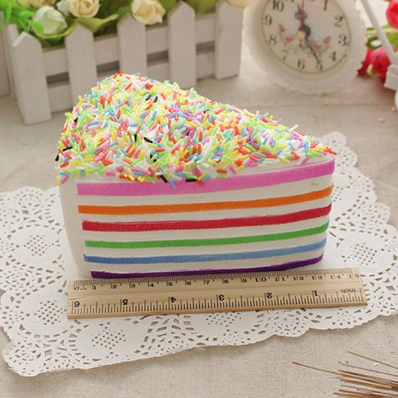 Jumbo Rainbow Fake Cake Decorating Squishy Crumble Fusión Kawai Slow Rising Food Fotografía de Boda Juguete Teléfono Correa 14 cm