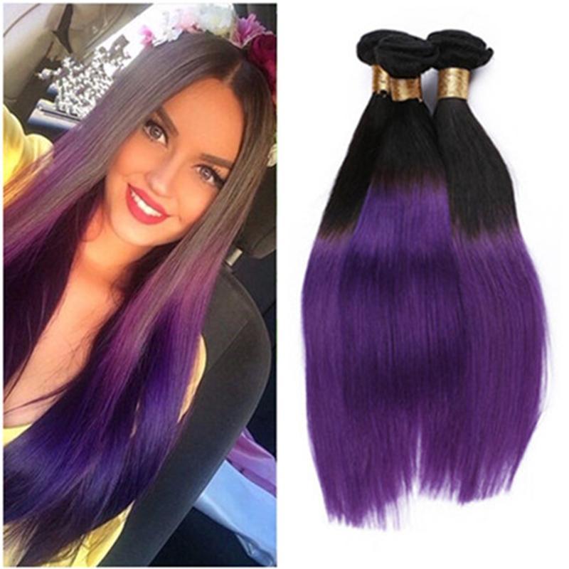 Cheap Peruvian Ombre Purple Hair Weave Weft 3 Bundle Deals Two Tone