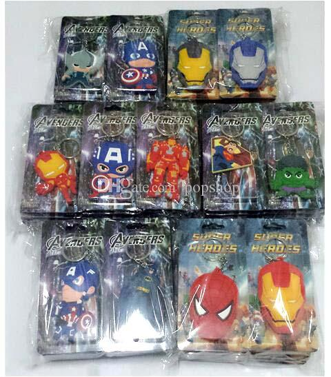 Hot Sale!Mix The Avengers Iron Man Captain America Hulk Superman Thor Action Figure Toys head double-sided Silicone PVC keychain
