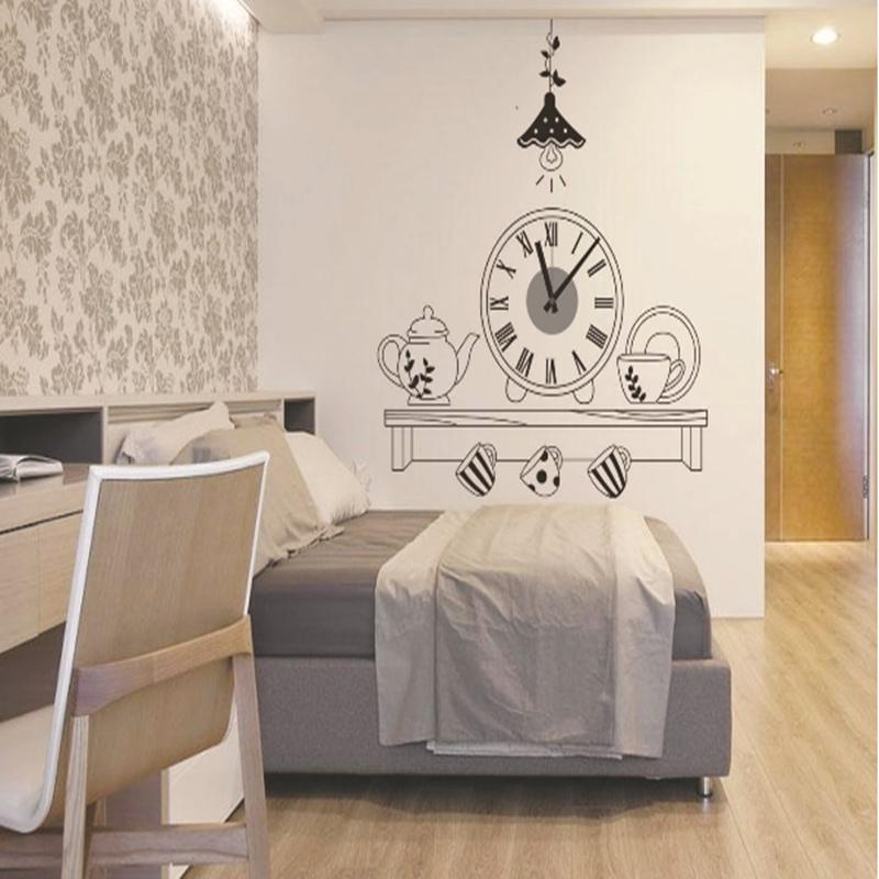 Hot Sale!!! Beautiful Design Coffee Cup Pvc Wall Clock Kitchen ...