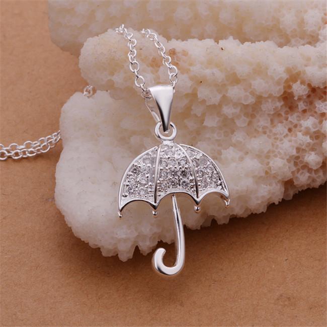 NOUVEAU Collier de pendentif Bumbershoot Blanc Plaqué de pierres précieuses en argent sterling STSN306, Mode 925 Collier en argent Argent Vente d'usine