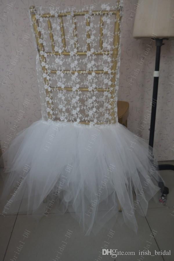 2016 Custom Made Tulle Lace Chair Covers Romantic Beautiful Chair Sashes Cheap Wedding Chair Decorations 017
