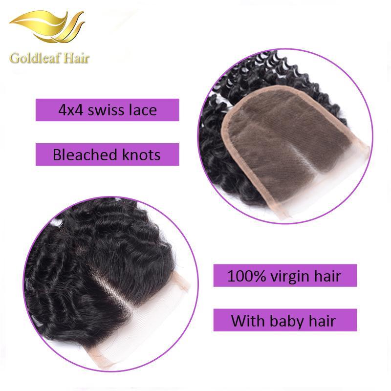 Brazilian Virgin Hair Lace Closure Bleached Knots 4*4 Unprocessed Human Hair Lace Top Closure Malaysian Peruvian Indian Deep Wave Closure