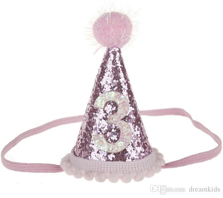 Baby-netter 1/2/3 Geburtstags-Party-Hüte Dot mit Hairball Cap-Babyparty-Geburtstags-Party-Foto-Props Kinder Partydekoration