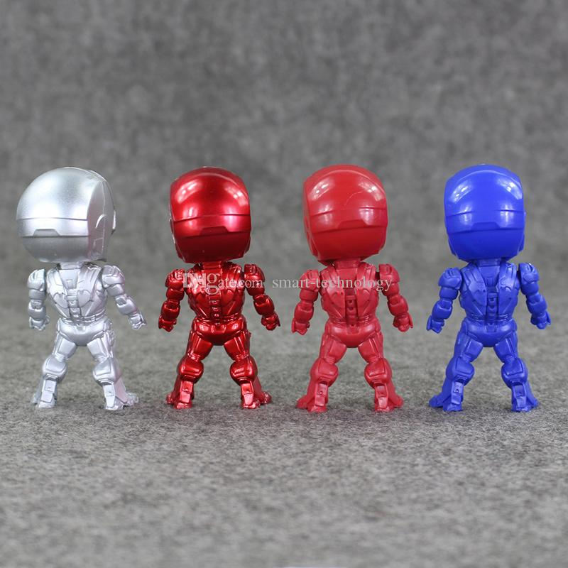 9cm 4 Styles Super Hero Iron Man Q version PVC Action Figure Collectable Model toy for kids Christmas gift retail