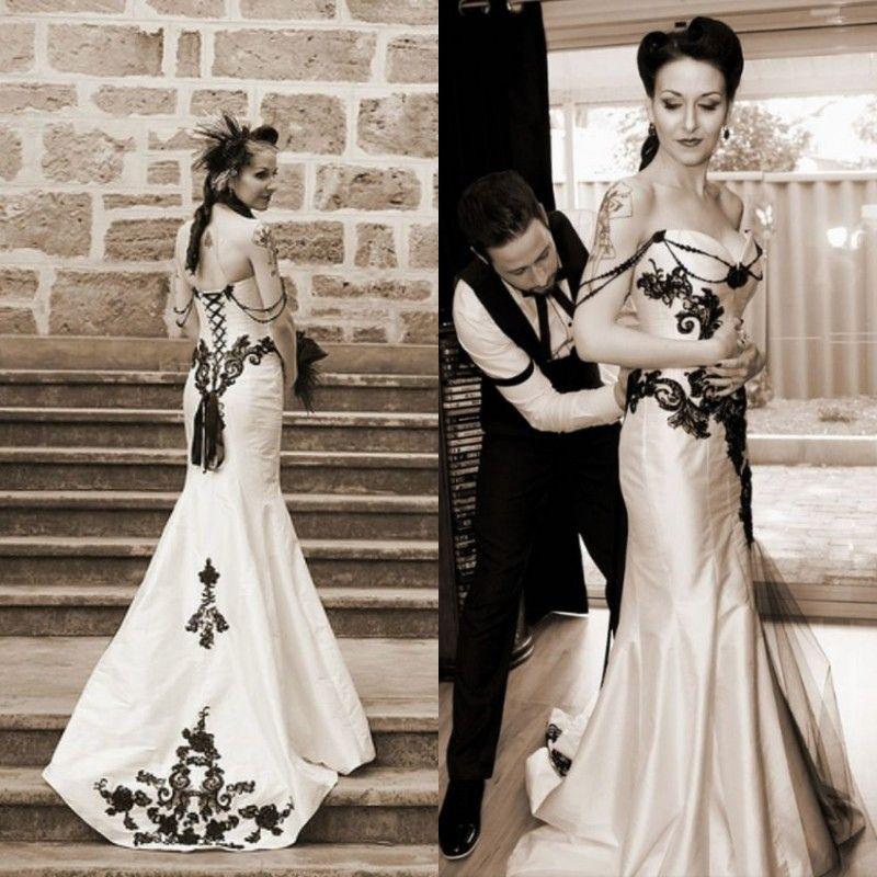 Vestido De Noiva Sereia De Renda Vestido De Casamento Clássico Gótico Do  Vintage Preto E Branco Vestidos De Casamento Querida Sem Mangas Lace  Apliques ... 6f675bffacae