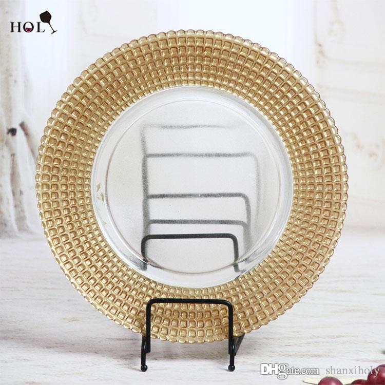 delightful Cheap Glass Plates In Bulk Part - 5: Holy Glass Plate Wholesale Cheap Gold Ridged Rimmed Clear Glass Charger  Plates for Wedding Events And Kitchen Gold Ridged Glass Plates Wedding  Plates Gold ...