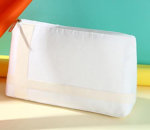 Girls white pure canvas cosmetic Bags DIY women blank plain Nylon zipper makeup bag lady clutch bag Gift organizer cases pouch for women