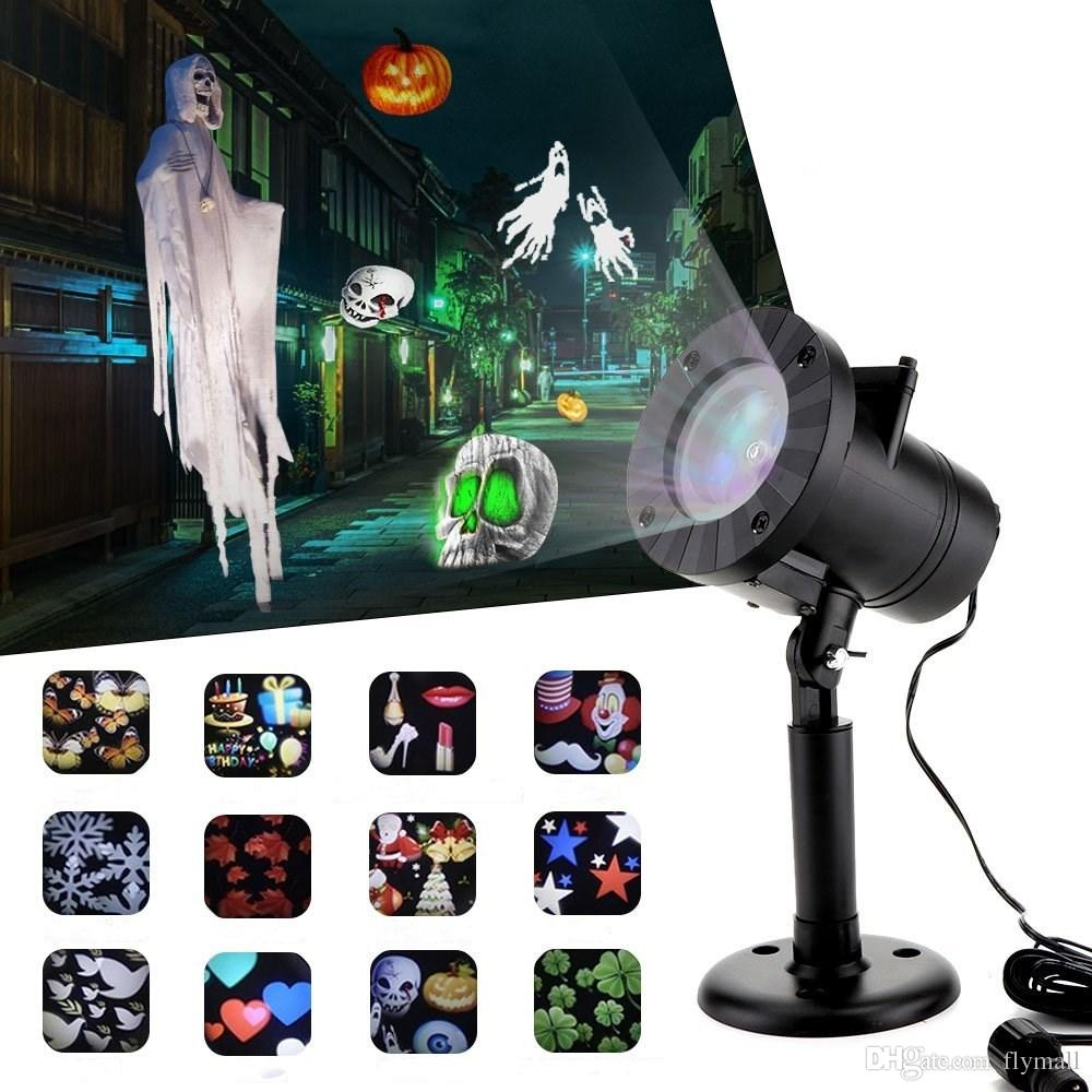 2018 christmas decorations laser snowflake projector lights outdoor moving rotating projection led spotlights waterproof for wedding halloween from flymall - Moving Christmas Decorations