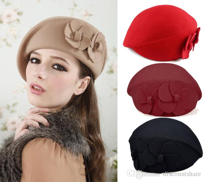 2019 100% Wool Felt Elegant Women French Style Beret Beanie Warm Pillbox Hat  Tam Cap From Discountshare f6364f519066