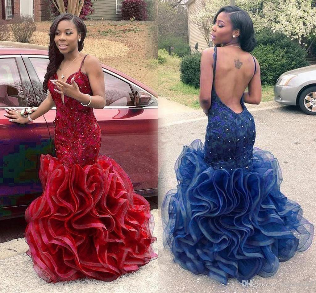 Sexy Backless African Style Prom Dresses with Cascading Ruffles Sparking Crystal Red Robe De Soiree Mermaid Formal Party Evening Gowns