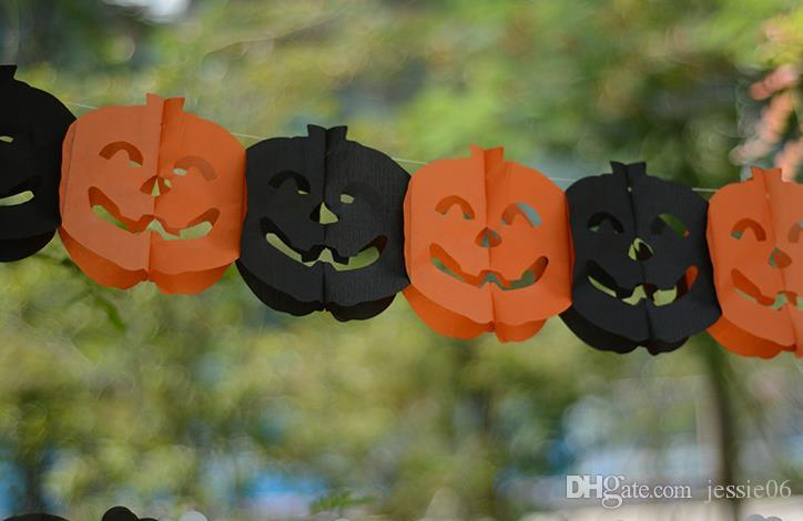 SPOOKY Halloween Garland Banner Bunting Bat Pumpkin Ghosts spider Party Decorations party nightclub bar paper flags decor 118inch