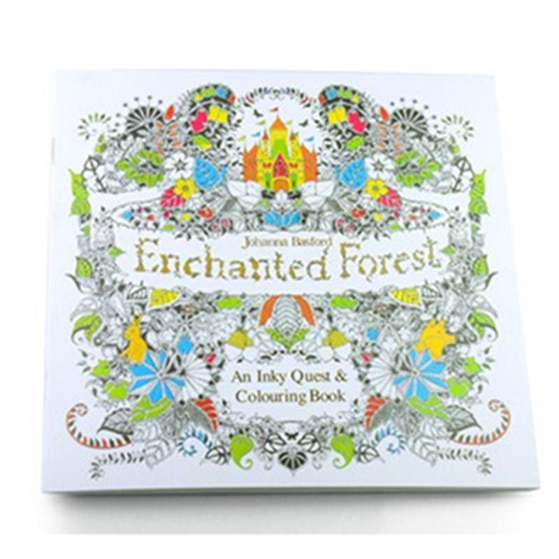 Inky Coloring Book Children Adult Graffiti Painting Drawing Books 24 Pages English Simple Version Secret Garden Kingdom Enchanted Forest Create A