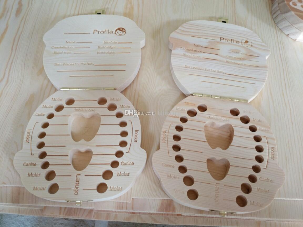 Wholesale-Tooth Box for Baby Save Milk Teeth Boys/Girls Image Wood Storage Boxes Creative Gift for Kids Travel Kit 2 styles C1892