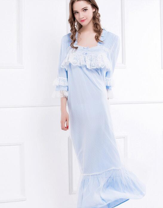 354df42371 2019 Wholesale New Summer And Autumn Women S Long Blue And White Vintage  Pyjamas Lace Sleepwear Lady Nightgown Royal Nightshirt From Volontiers