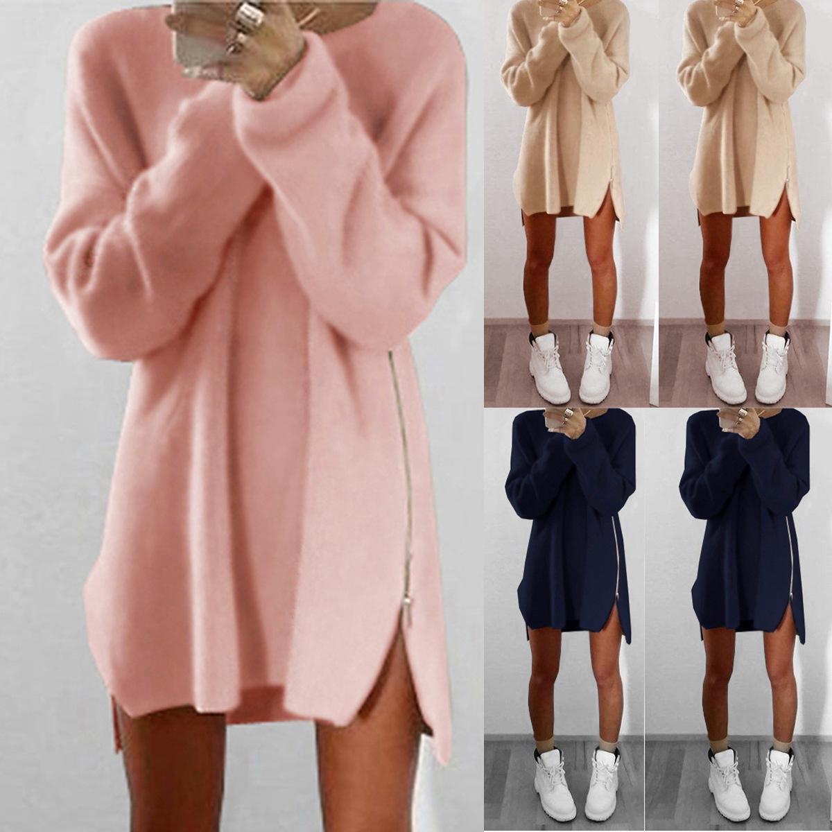 5bb223bd82 2019 Women Knitwear Lady Long Sleeve Zipper Side Knitted Split Sweater Loose  Tunic Vestido De Festa From Queenweddingdressing