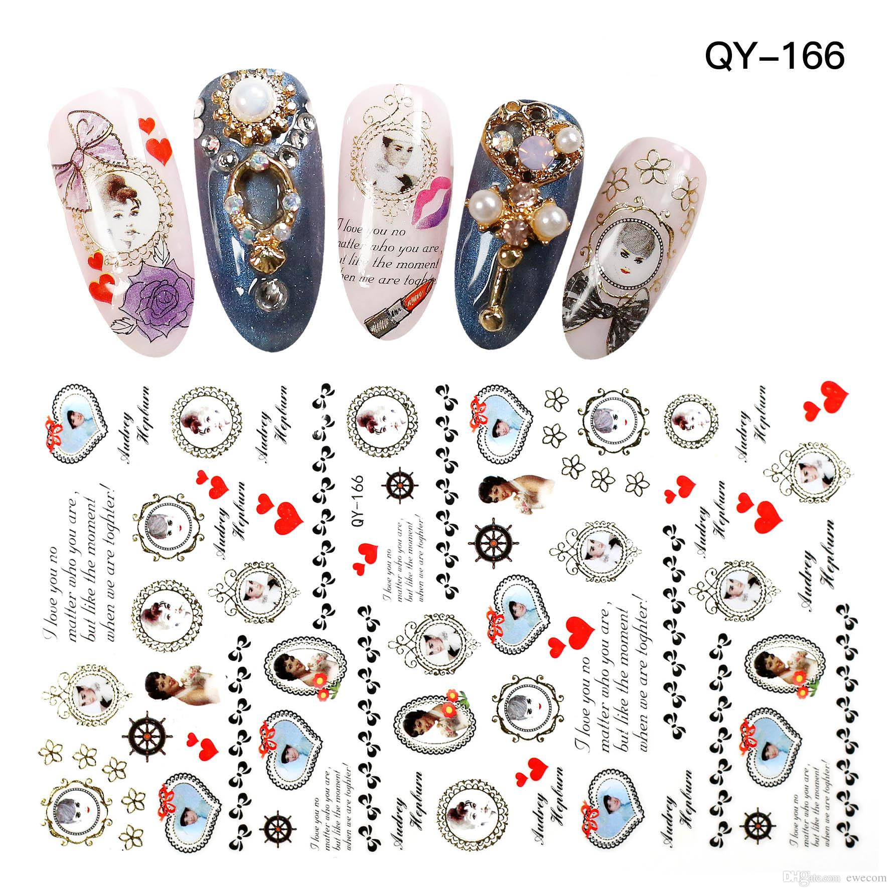 High Quality Famous Star Audrey Hepburn Nail Art Stickers Decals