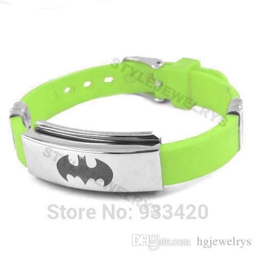 ! Classic Batman Bracelet Stainless Steel Jewelry Green Rubber Motor Biker Bracelet Men Wholesale SJB0220B