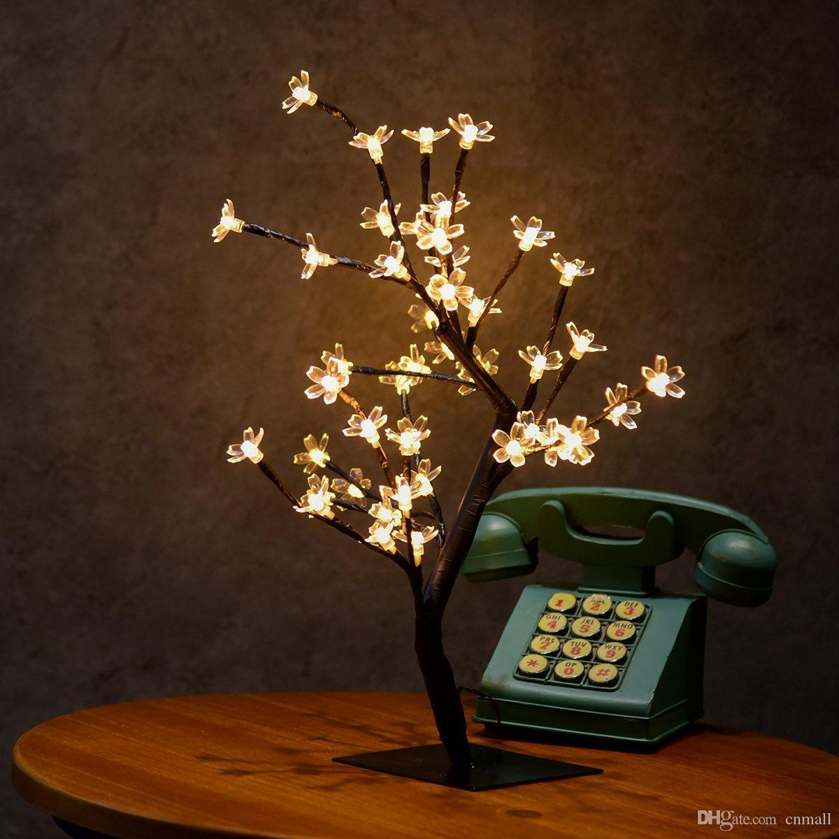 0.45M/17.72Inch 48LEDs Cherry Blossom Desk Top Bonsai Tree Light Black Branches for Home Party Wedding Christmas Indoor Outdoor Decoration
