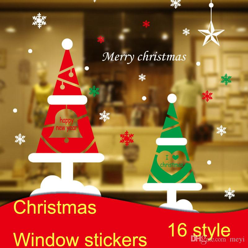 Wholesale christmas window stickers diy glass display window sticker wall stickers letter snowflake christmas santa claus christmas window stickers glass