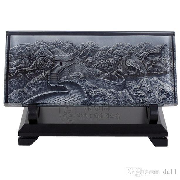 Décoration Arts artisanat fille cadeaux se marient Les caractéristiques de décoration en relief cristal de bureau d'étude de Beijing la Grande Muraille