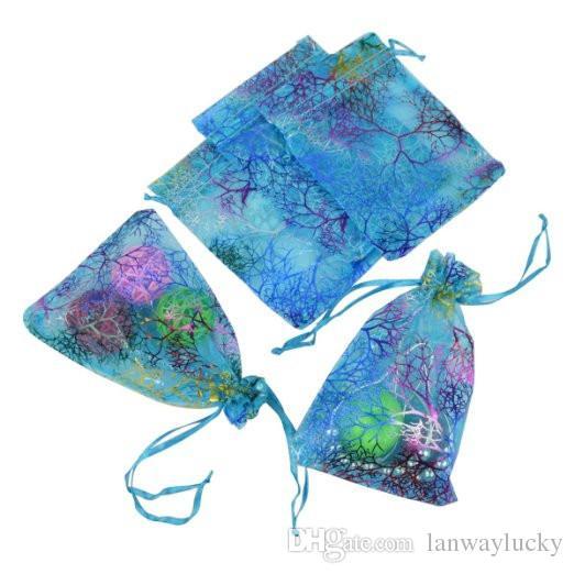 Coralline Organza Cordon Cordon D'emballage Pochettes Partie Bonbons De Faveur De Mariage Cadeau Sacs Conception Sheer Avec Dorure Motif 10 x15cm
