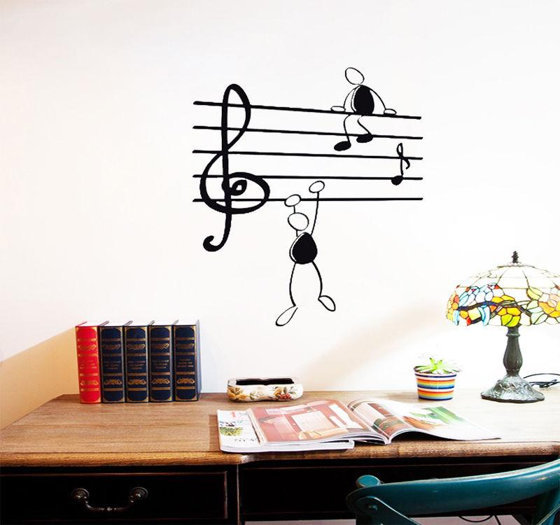 D216 Removable Wall Sticker Home Decor Music Notes Funny Guys For Living Room Vinyl Stickers Instrumen Art