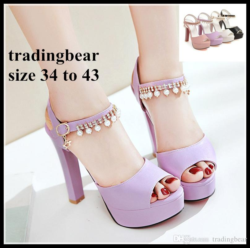 3326866ec143 Plus Size Wedding Shoes Womens Girls White Pearls Chain Thick Heels  Bridesmaid Bridal Shoes 34 To 40 41 42 43 Dansko Shoes Tennis Shoes From  Tradingbear