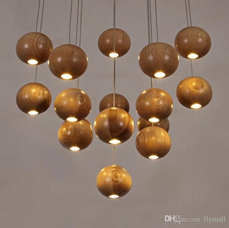Lampadario moderno a LED in legno Lampada a sospensione a sfera in legno creativa Lampada a sospensione in legno Doccia meteorologica Luce scale Lampada ristorante
