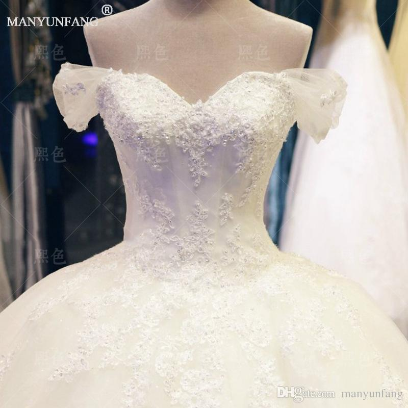 2020 Spring New Style Sexy Strapless Ball Gown Beads Lace Up Tulle Cathedral Train New Arrival Capped Sleeves Wedding Dresses
