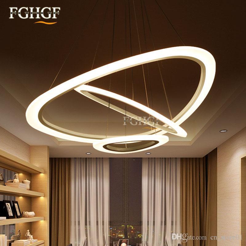 Luces colgantes modernas para sala de estar comedor 2/3/4 Circle Wave Rings acrílico cuerpo de aluminio LED lámpara colgante accesorios